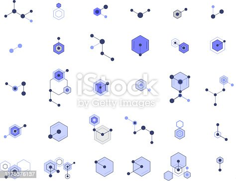 molecular hexagon complex pattern design elements