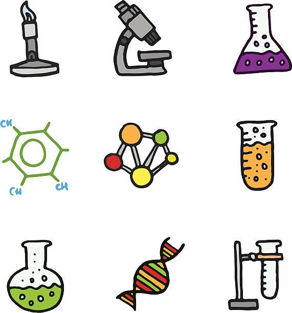 Wissenschaftliche doodle icon-set – Vektorgrafik