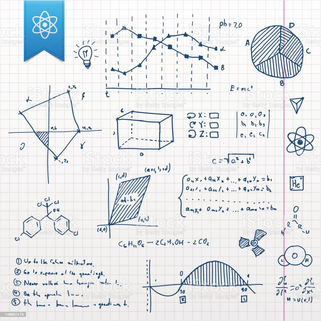 Scientific doodle set vector art illustration