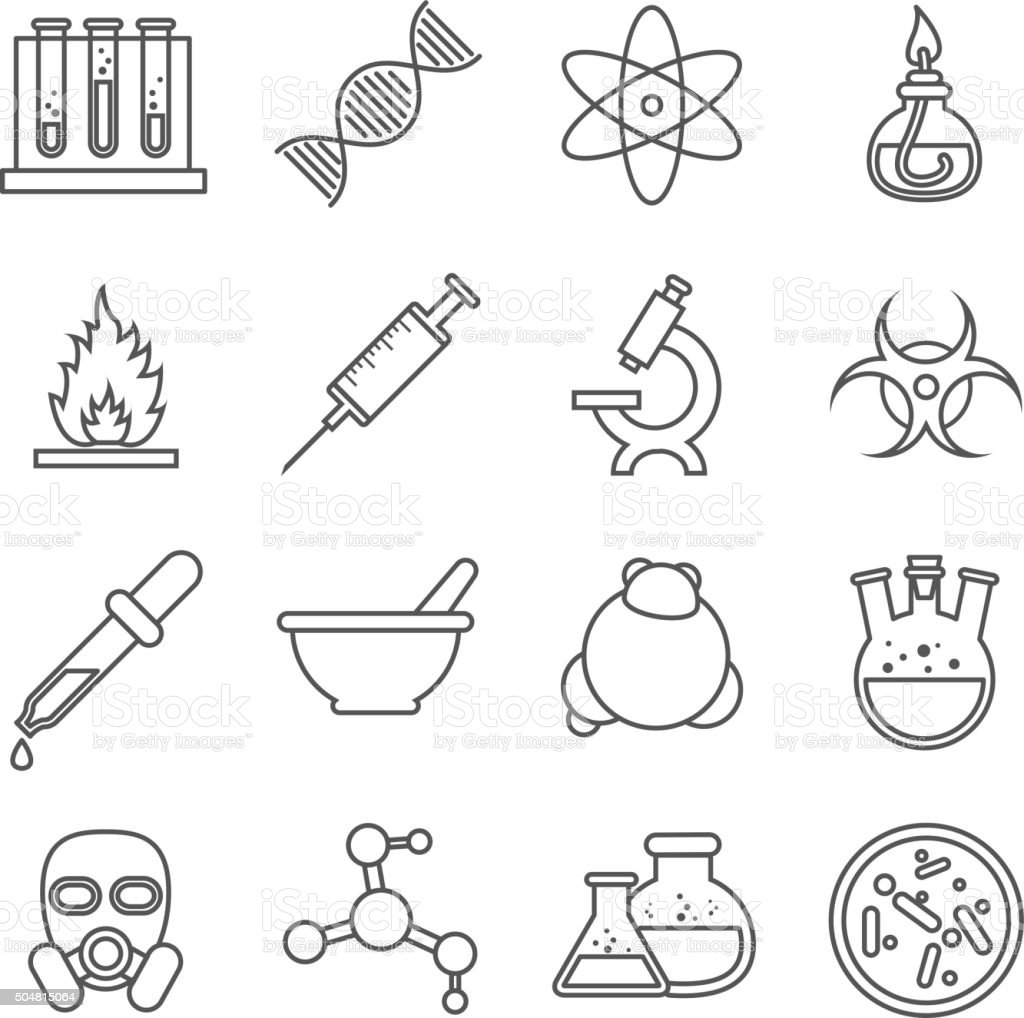 Scientific experiments, chemistry and bio technology vector line icons vector art illustration