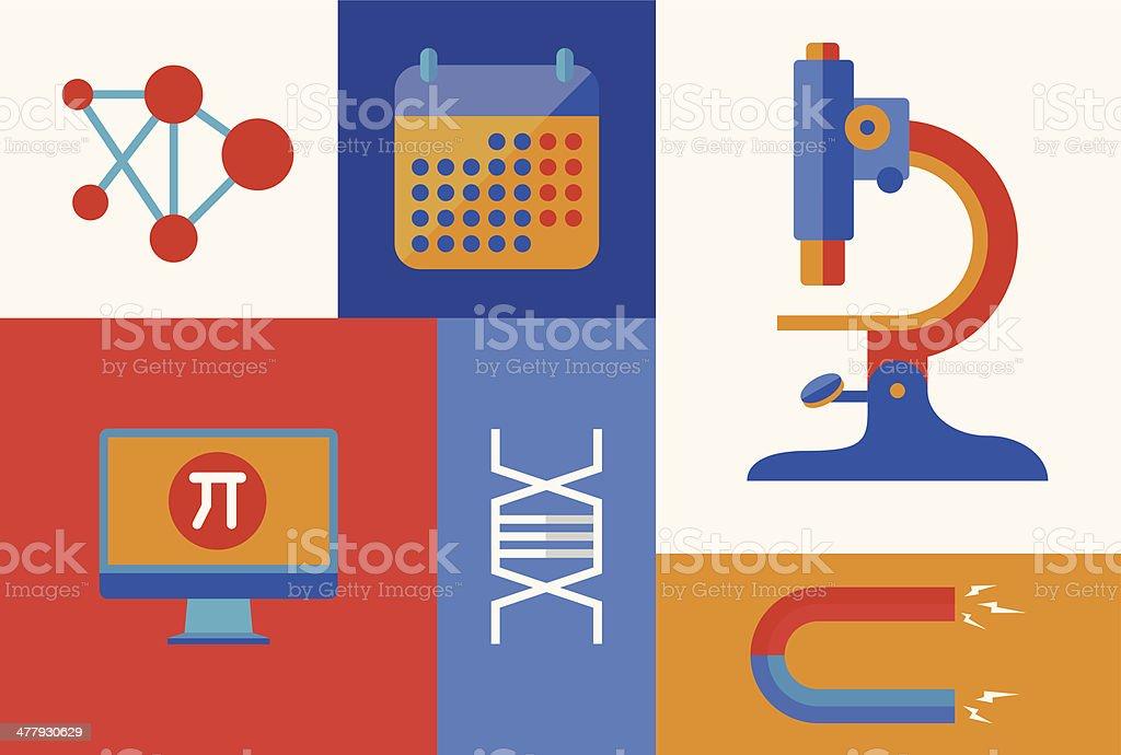 Scientific icons illustration royalty-free stock vector art