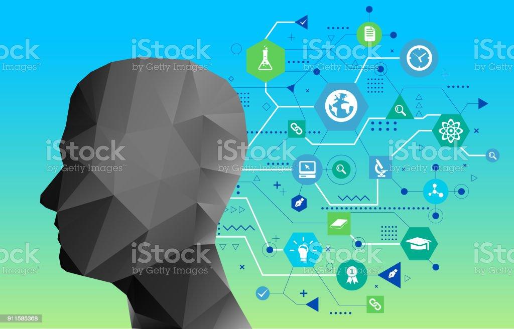 Scientific idea on head vector art illustration