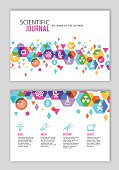 Science and technology journal design in color and polygonal shapes.