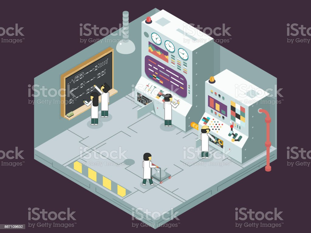 Scientific laboratory experiment experience scientists work control panel analysis production development study technology business Isometric 3d flat design concept illustration vector art illustration