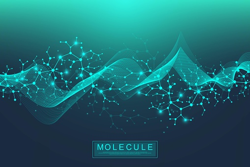 Scientific molecule background DNA double helix illustration with shallow depth of field. Mysterious wallpaper or banner with a DNA molecules. Genetics information vector