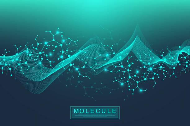 ilustraciones, imágenes clip art, dibujos animados e iconos de stock de ilustración de doble hélice de adn de fondo de molécula científica con profundidad de campo poco profunda. misterioso fondo de pantalla o estandarte con moléculas de adn. vector de información genética - biología