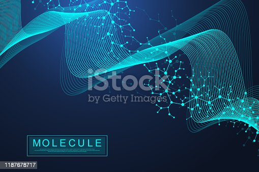 istock Scientific molecule background DNA double helix vector illustration with shallow depth of field. Mysterious wallpaper or banner with a DNA molecules. Health care and science innovation pattern. 1187678717