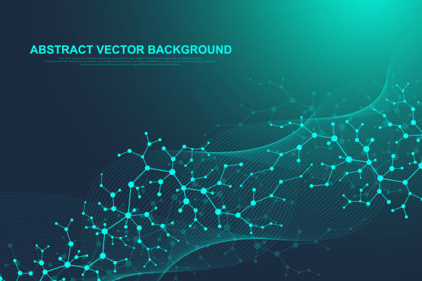 Scientific molecule background for medicine, science, technology, chemistry. Wallpaper or banner with a DNA molecules. Vector geometric dynamic illustration Scientific molecule background for medicine, science, technology, chemistry. Wallpaper or banner with a DNA molecules. Vector geometric dynamic illustration. nerve cell stock illustrations