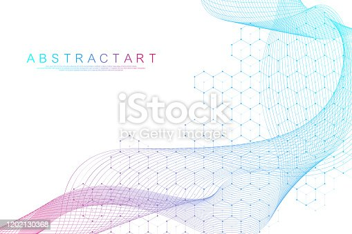 istock Scientific molecule background for medicine, science, technology, chemistry. Science template wallpaper or banner with a DNA molecules. Dynamic wave flow DNA. Molecular vector illustration. 1202130368