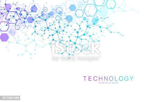 Scientific molecule background for medicine, science, technology, chemistry. Wallpaper or banner with a DNA molecules. Vector geometric dynamic illustration