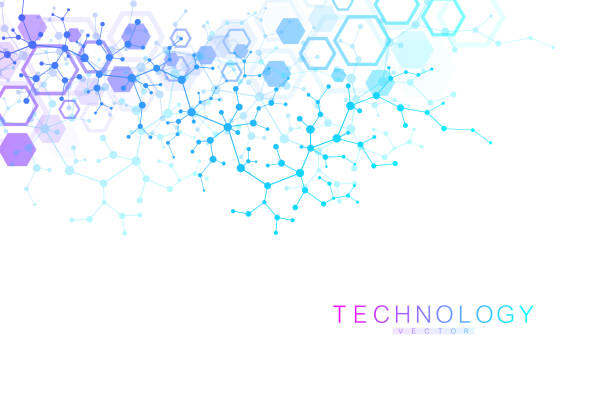 Scientific molecule background for medicine, science, technology, chemistry. Wallpaper or banner with a DNA molecules. Vector geometric dynamic illustration Scientific molecule background for medicine, science, technology, chemistry. Wallpaper or banner with a DNA molecules. Vector geometric dynamic illustration genetic research stock illustrations