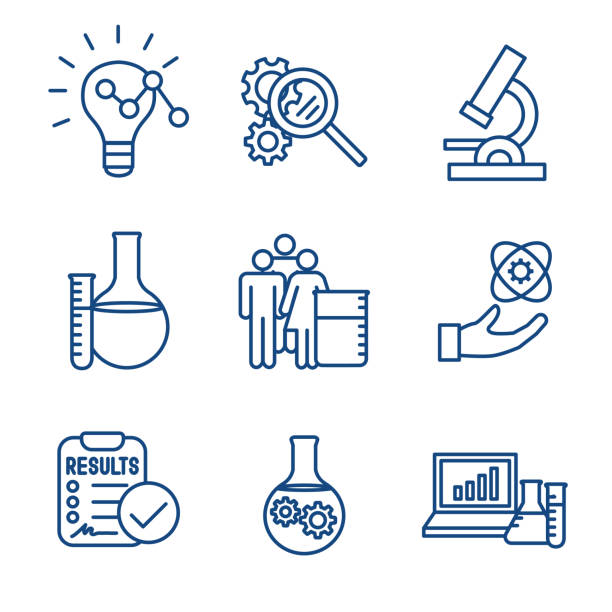 Scientific Process Icon Set with hypothesis, analysis, etc Scientific Process Icon Set - hypothesis, analysis, etc medical research stock illustrations