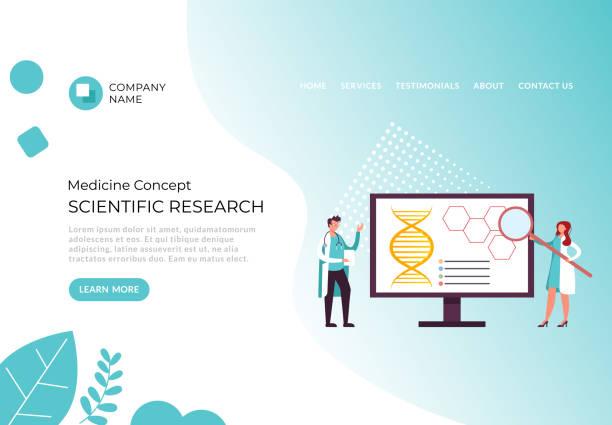 Scientific research banner poster concept. Vector flat cartoon graphic design illustration vector art illustration