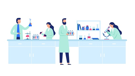 Scientific research. Scientist people wearing lab coats, science researches and chemical laboratory experiments vector illustration