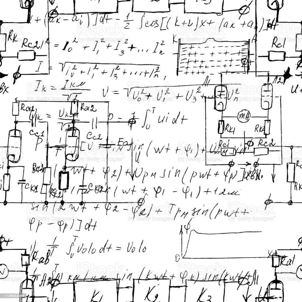 Amazing Scientific Seamless Texture With Handwritten Formulas And Electronic Wiring 101 Orsalhahutechinfo