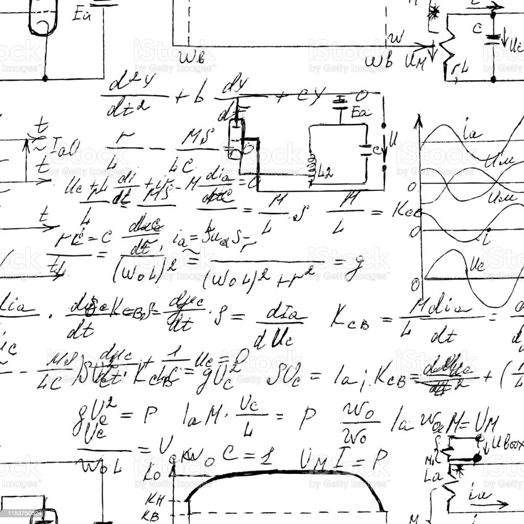 scientific seamless texture with handwritten formulas and electronic components physics and