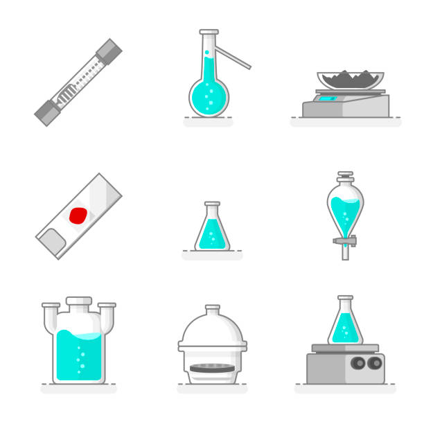 wissenschaftliche reihe von laborglas, materialien und werkzeuge. flache linie design-konzept. vektor-illustration. - destillieren stock-grafiken, -clipart, -cartoons und -symbole