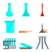 Scientific set of laboratory materials and tools. Flat design concept. Vector illustration. Tripod, petri dish, rack, test tube, bunsen burner, tweezers, beaker, shaker, flask.