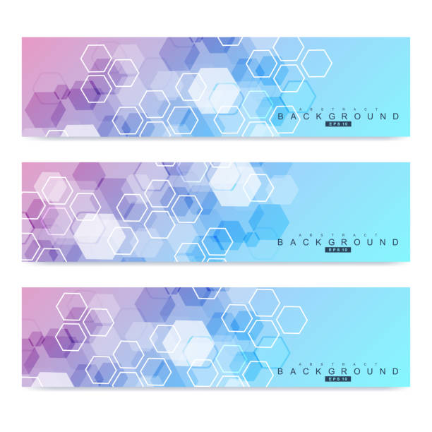 Scientific set of modern vector banners. DNA molecule structure with connected lines and dots. Science vector background. Medical, tecnology, chemistry design vector art illustration