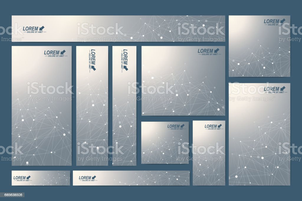 Scientific standard size banners. Geometric abstract presentation. Medical, science, technology, chemistry background molecule and communication. Cybernetic dots. Lines plexus. Card surface Lizenzfreies scientific standard size banners geometric abstract presentation medical science technology chemistry background molecule and communication cybernetic dots lines plexus card surface stock vektor art und mehr bilder von atom