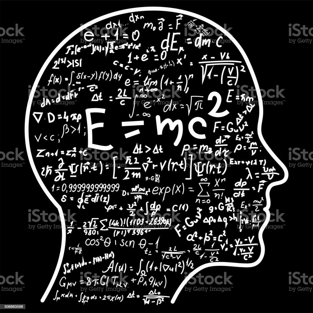 Scientific thinking. Outline of head filling math and physics formulas. Can illustrate topics related to science vector art illustration