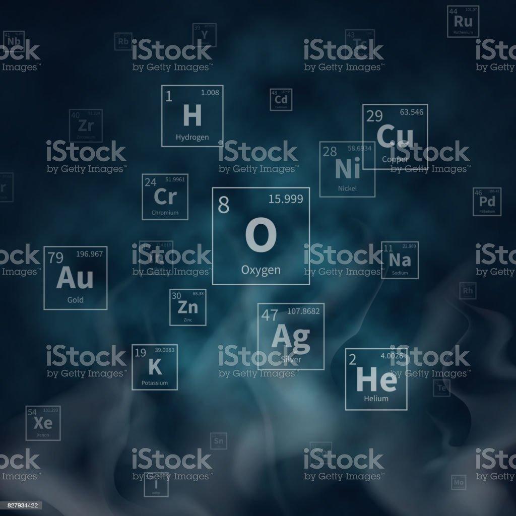Fondo de vector científico con símbolos de elementos químicos y humo blanco - ilustración de arte vectorial