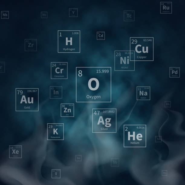 Scientific vector background with chemical elements symbols and white smoke vector art illustration