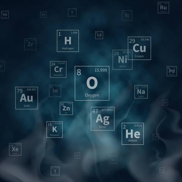 Wissenschaftliche Vektor Hintergrund mit chemischen Elemente Symbole und weißer Rauch – Vektorgrafik