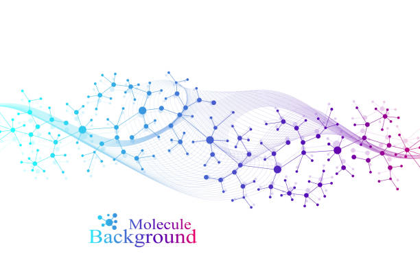 Wissenschaftliche Vektorillustration Gentechnik und Genmanipulationskonzept. DNA-Helix, DNA-Strang, Molekül oder Atom, Neuronen. Abstrakte Struktur für Wissenschaft oder medizinischen Hintergrund. Wellenfluss – Vektorgrafik