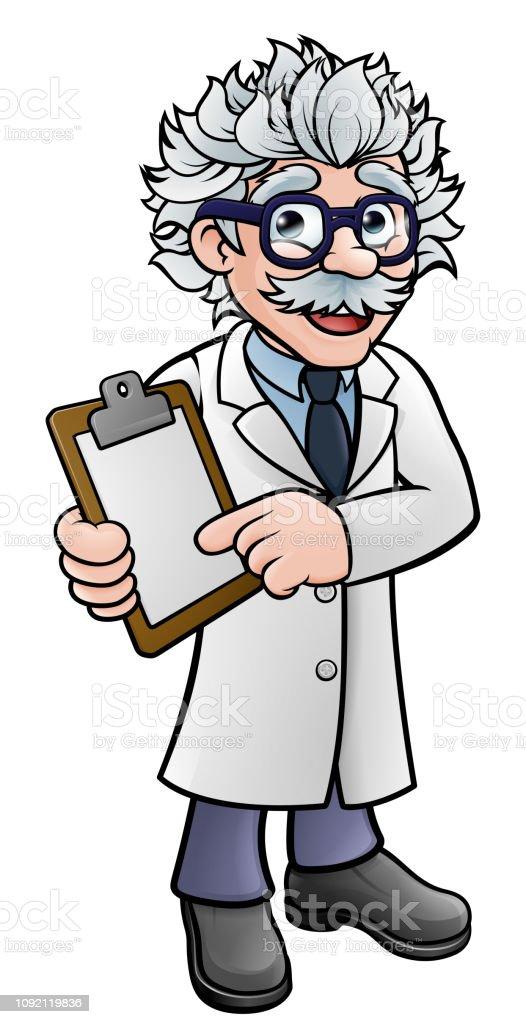 Scientist Cartoon Character Holding a Clipboard vector art illustration
