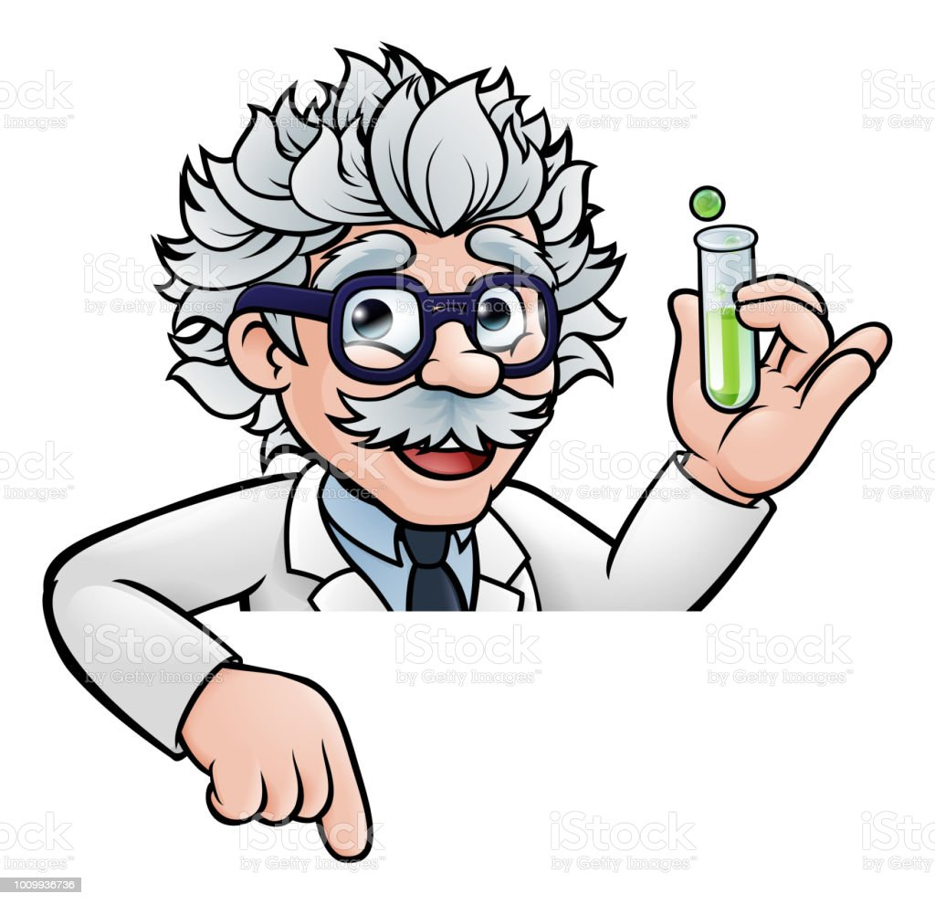 Scientist Cartoon Character Holding Test Tube Royalty Free Scientist Cartoon Character Holding Test Tube Stock