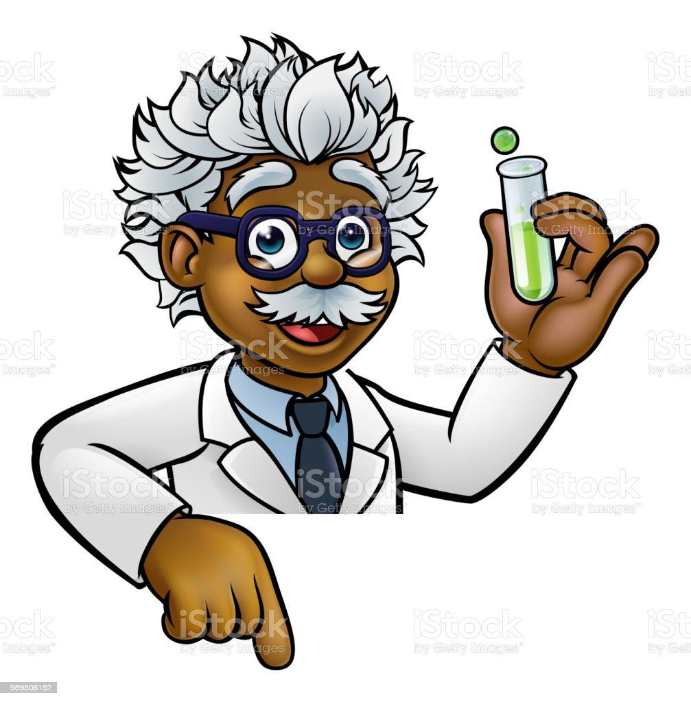 ilustração de personagem de desenho animado de cientista segurando o