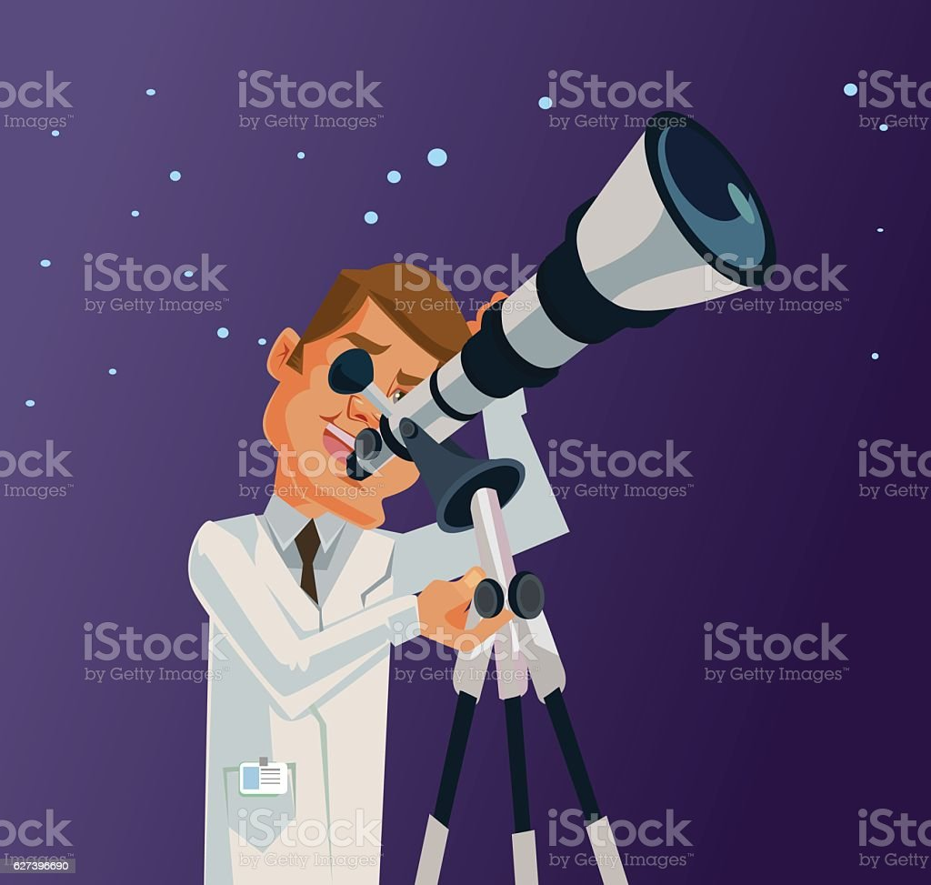 Scientist character looking through telescope at the universe galaxy stars - Illustration vectorielle