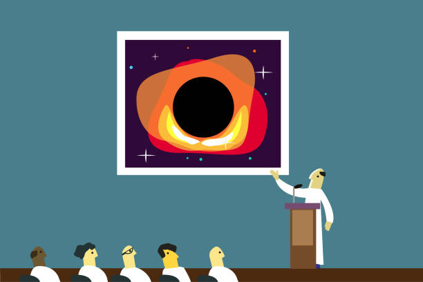 A scientist discusses a picture of a black hole vector art illustration