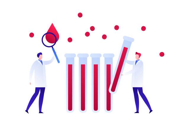 ilustrações, clipart, desenhos animados e ícones de a equipe do doutor do cientista com magnifier e frascos estuda o sangue. ilustração lisa. - hiv
