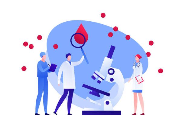 Scientist doctor team with magnifying glass and microscope study blood. Flat illustration. Vector flat blood laboratory character illustration. Medic team with magnifier and microscope study blood drop cell. Concept of dna, hiv diagnosis. Design element for poster, flyer, card, banner, ui biomedical illustration stock illustrations