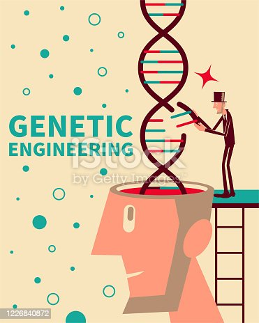 istock Scientist (engineer, professor, doctor, biochemist) doing scientific experiment (medical research) about human genetic modification. Genetic engineering, GMO and Gene manipulation concept 1226840872