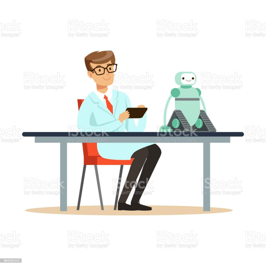 Scientist engineer tests the prototype of the robot royalty-free scientist engineer tests the prototype of the robot stock vector art & more images of adult