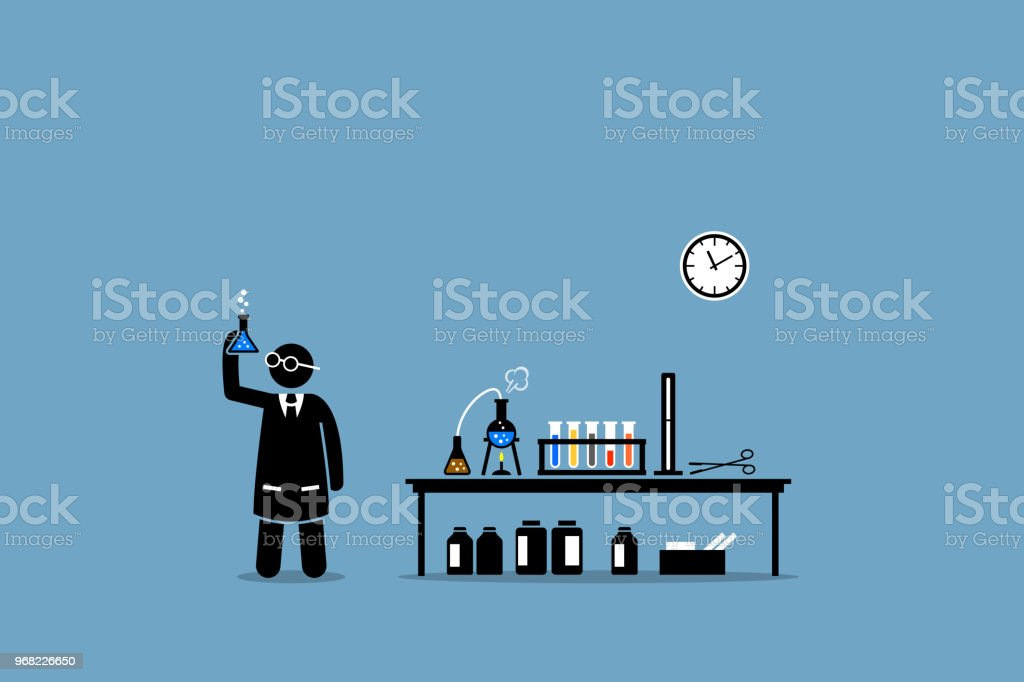 Scientist examining the result of his chemical lab experiment. vector art illustration