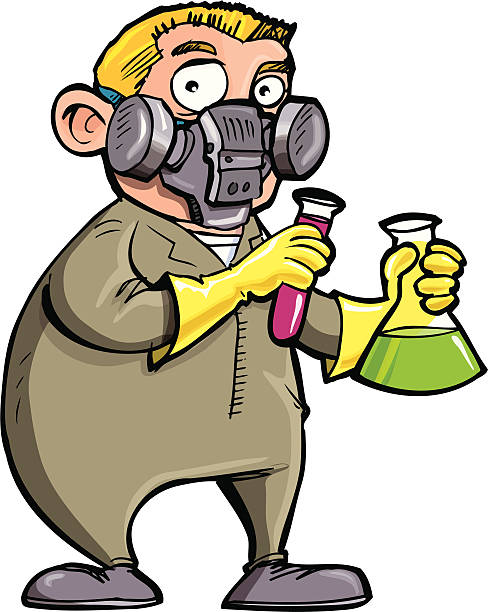 scientist experimenting with chemicals - cartoon of a hazmat suit stock illustrations, clip art, cartoons, & icons