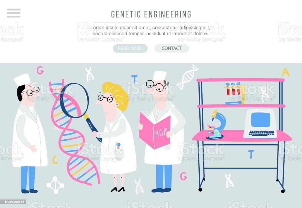 Ilustración De Estructura Del Adn Explora Científico Concepto De Mano Dibujada Genoma Secuencia En Vector Banner Para Sitio Y Más Vectores Libres De
