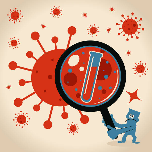 Scientist (doctor, biochemist) finds a vaccine for new virus, coronavirus vector art illustration