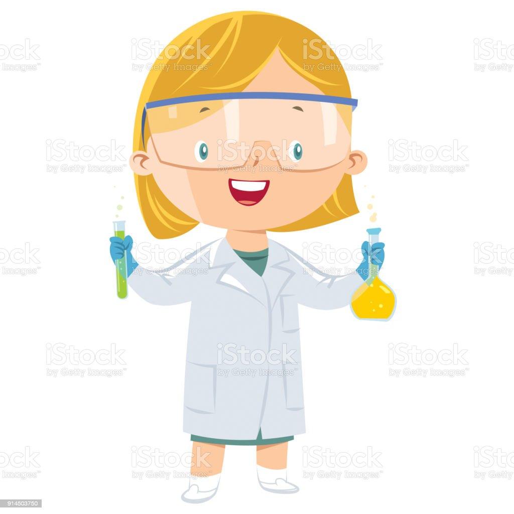 chica de científico - ilustración de arte vectorial