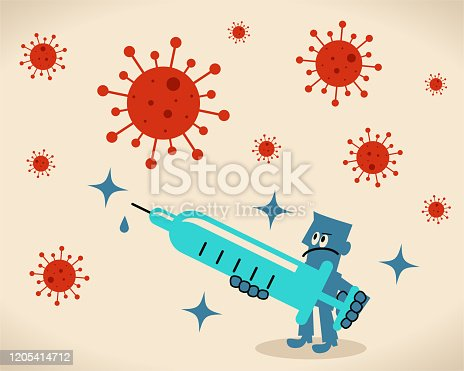 istock Scientist (doctor, biochemist) holding a big syringe, concept about a vaccine for new virus and coronavirus 1205414712
