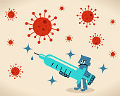Blue Little Guy Characters Vector Art Illustration. Scientist (doctor, biochemist) holding a big syringe, concept about a vaccine for new virus and coronavirus.