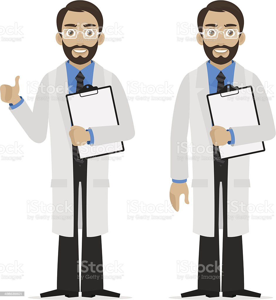Scientist holds file royalty-free stock vector art