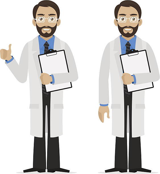 scientist holds file - old man showing thumbs up cartoons stock illustrations, clip art, cartoons, & icons