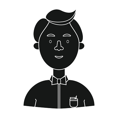 Scientist icon in black style isolated on white background. Peop