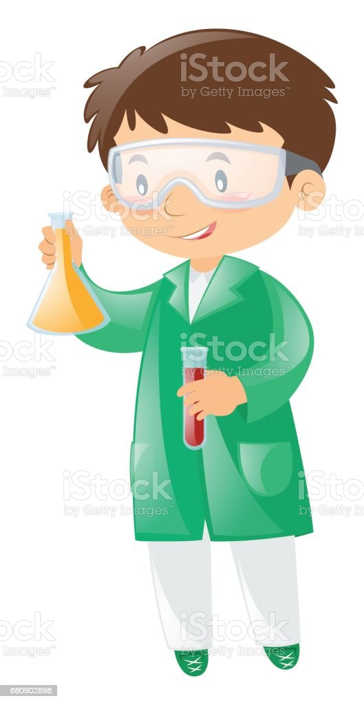 Scientist in green gown holding beaker royalty-free scientist in green gown holding beaker stock vector art & more images of adult