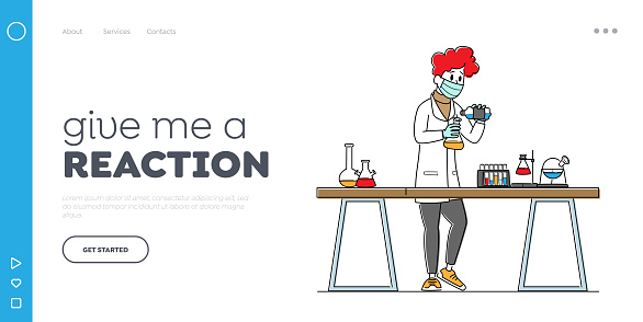Scientist in Lab Coat Conduct Experiment Landing Page Template. Chemistry Science, Scientific Research in Laboratory